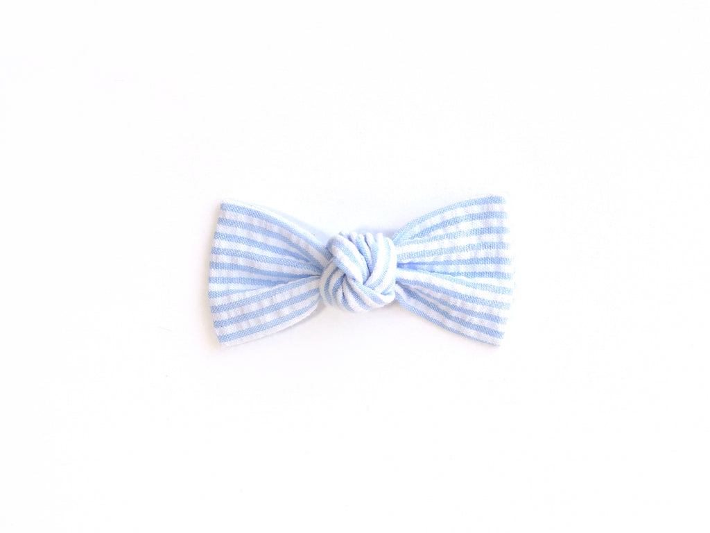 Blue Seersucker | Knotted Bow
