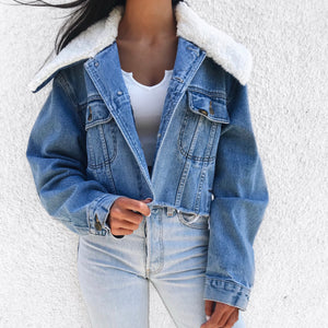 CROP FAUX SHERPA JACKET