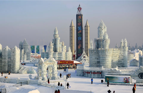A massive ice sculpture exhibition that happens annually in Harbin City, China