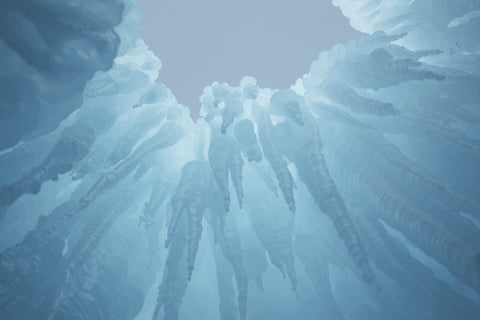 Overhead view of an Ice Castle in Midway, Utah