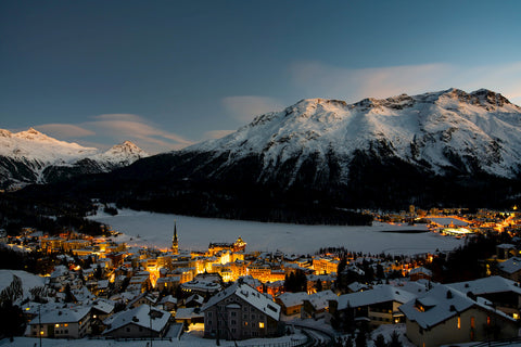 Photo of charming St. Moritz, Switzerland at dusk