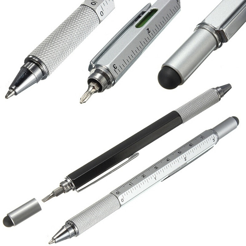 6 in 1, Touch Ballpoint, Stylus Pen With Spiri,t Level, Ruler, Screwdriver, Tool Office