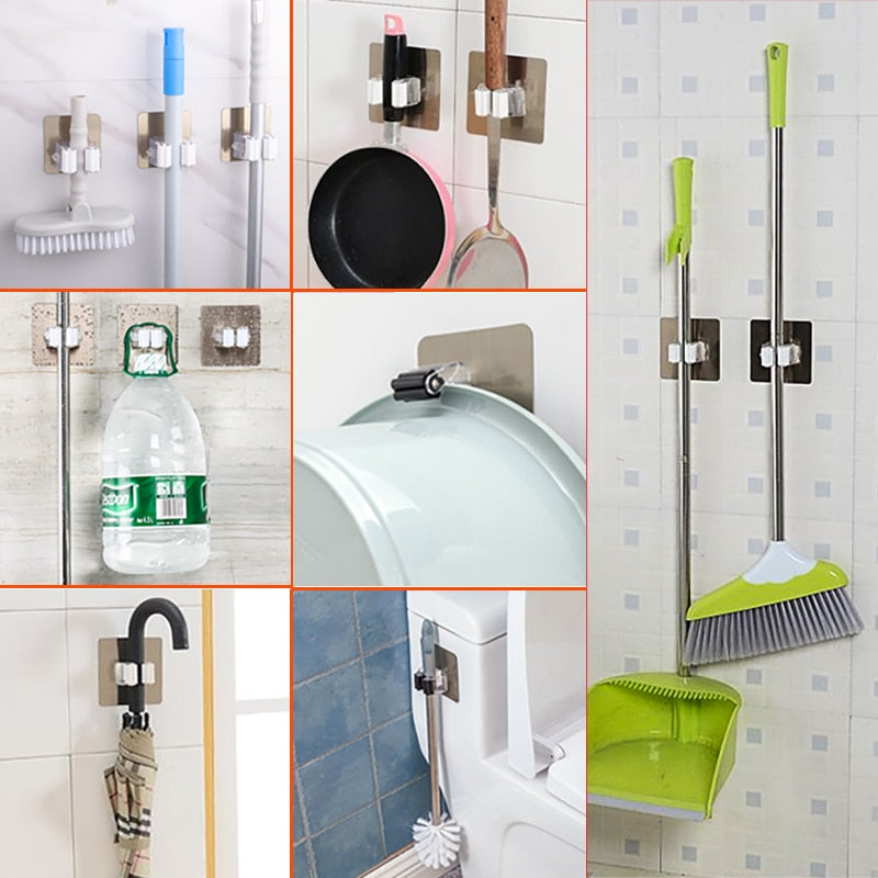 Organizer Holder Rack Self Sticking Brush Broom Hanger Hook Kitchen  Mops storage Racks drop 1pc Strong
