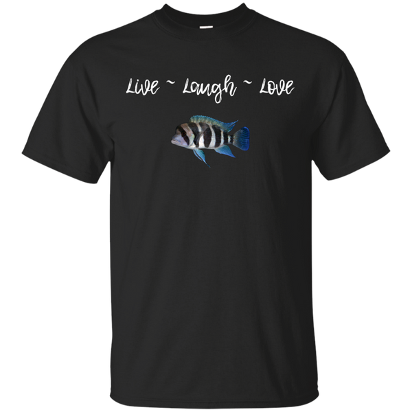 Live_Laugh_Love_Frontosa Men's Cotton White Letter T-Shirt ~ Get Great Dealz
