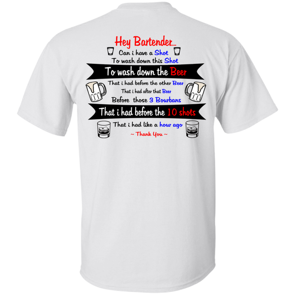 Hey Bartender - Back - Men's Cotton T-Shirt ~ Get Great Dealz - Get Great Dealz