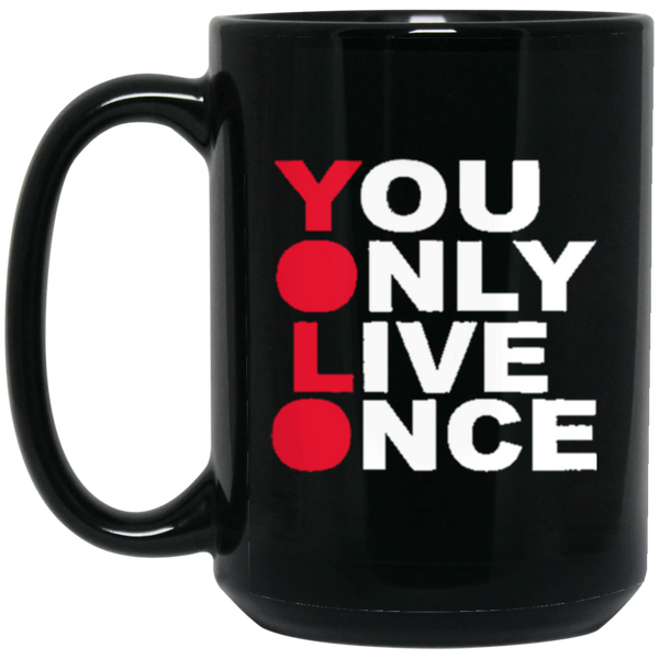 YOLO 15 oz. Black Mug ~ Get Great Dealz