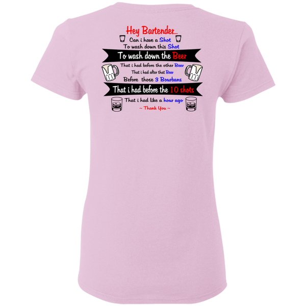 Hey Bartender - Back - Ladies Cotton T-Shirt ~ Get Great Dealz - Get Great Dealz