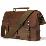 The Abenaki Messenger - Men's Leather & Canvas Messenger Travel Bag from Manly Packs