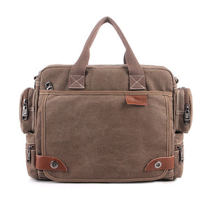 The Cambridge - Rugged Canvas Laptop Messenger Bag for Men