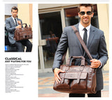 The Madison Ave - Large Leather Messenger Briefcase Bag for Men