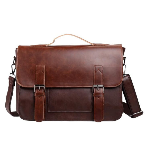 The Budapest Messenger - Large Leather Briefcase Messenger Bag for Men from Manly Packs