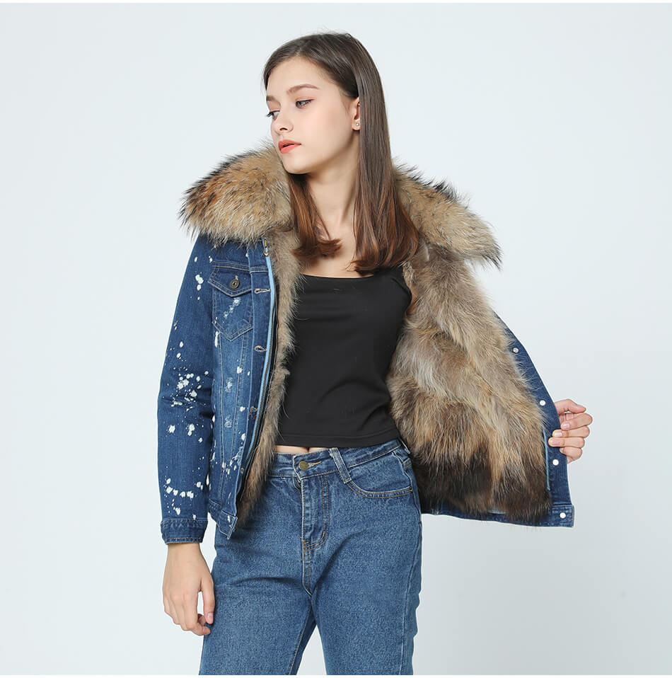 Denim Jacket - Raccoon Fur Collar and Raccoon Fur Liner