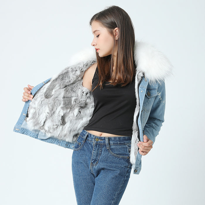 Denim Jacket - Raccoon Fur Collar and Rabbit Fur Liner