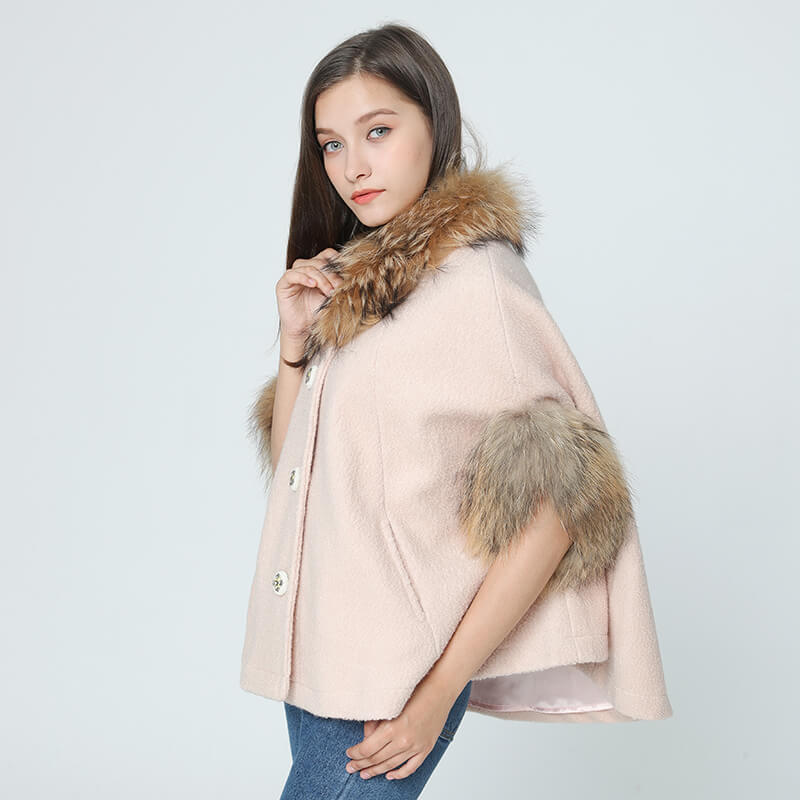 Wool Cloak - Raccoon Fur Collar and Raccoon Fur Sleeves