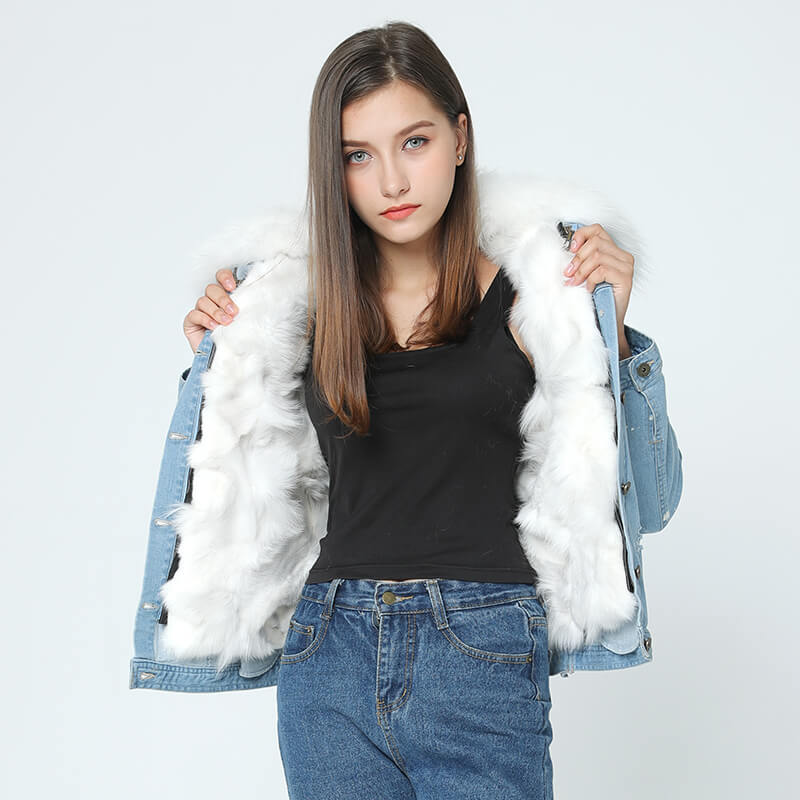 Denim Jacket - Raccoon Fur Collar and Fox Fur Liner