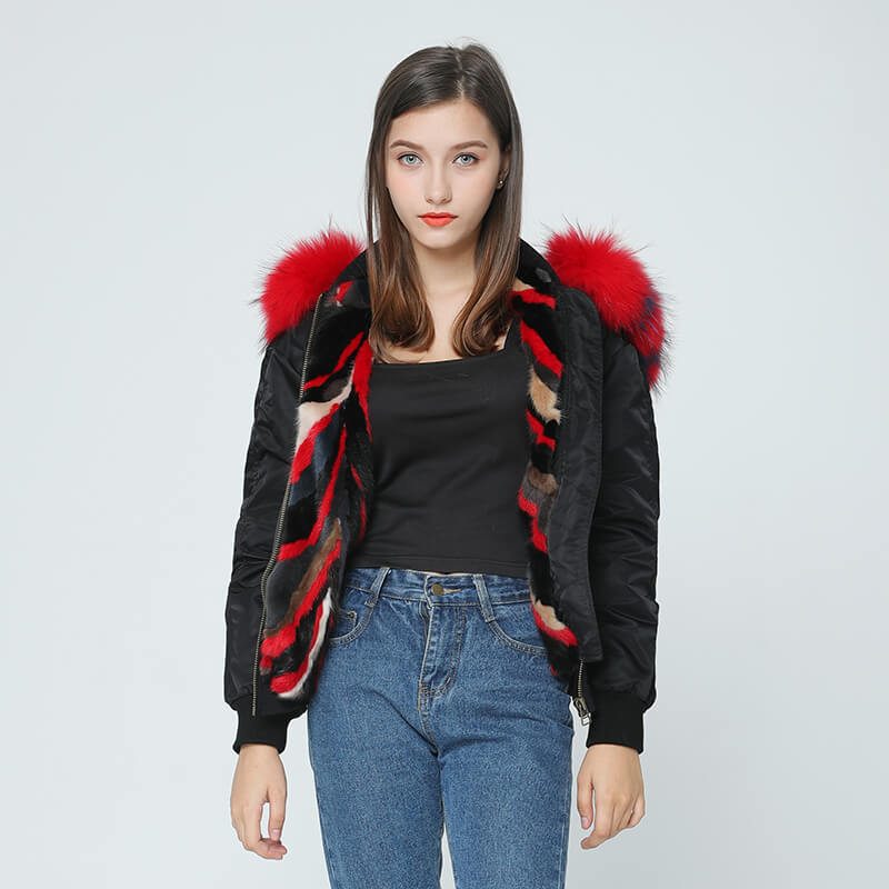 Bomber Jacket - Raccoon Fur Collar and Mink Fur Liner