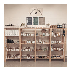 Four shelving units that are set up within our Bowmanville shop location and showcase a majority of our products