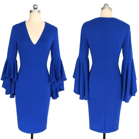 Vfemage Elegant Casual Pencil Dress