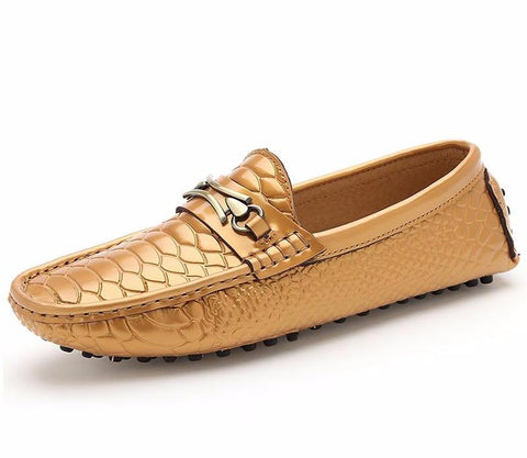 Alligator Pattern Leather Loafers