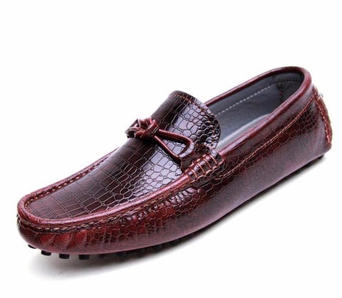 Moccasins alligator grain flat shoes