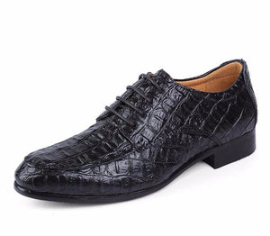 Leather Oxford Shoes - Crocodile Pattern