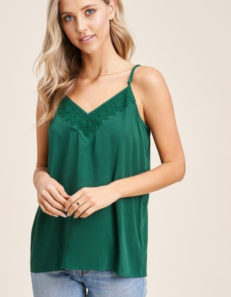 The Meredith Lace Trim Tank