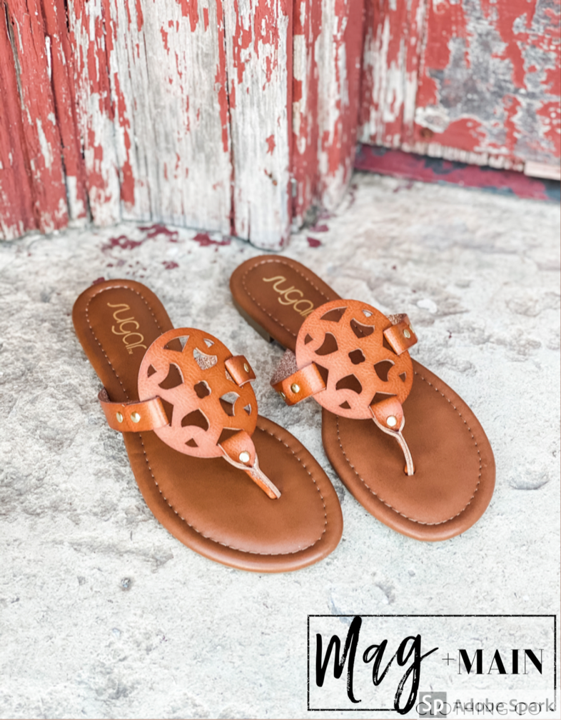 The Tori Sandal-Cognac