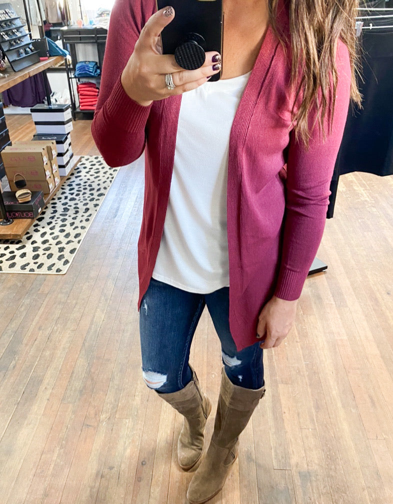 Treat You Right Cardigan-Marsala