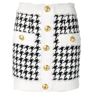 "The ""Lorraine"" Tweed Mini Skirt - White"
