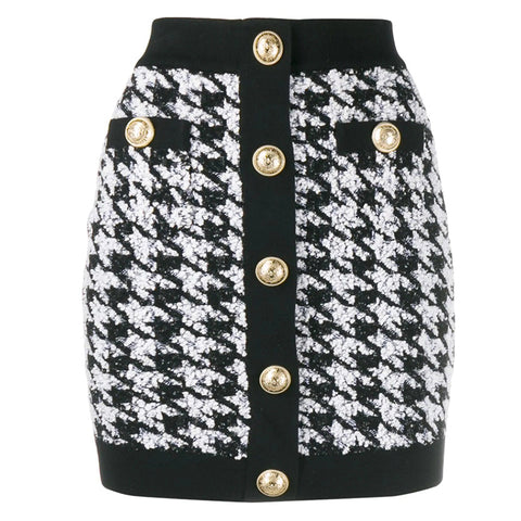 "The ""Lorraine"" Tweed Mini Skirt - Black"