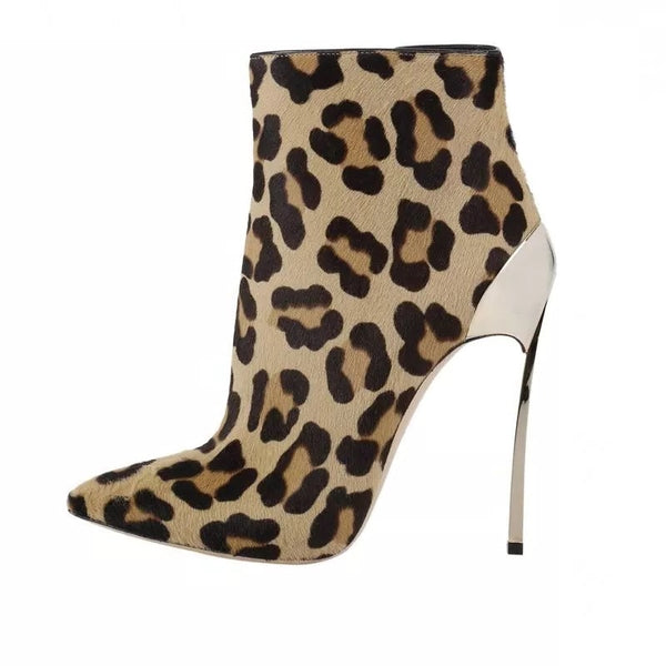 "The ""Leopard"" High Heel Ankle Boots"