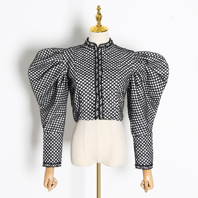 "The ""Jacqueline"" Ruffled Mandarin Collar Jacket"