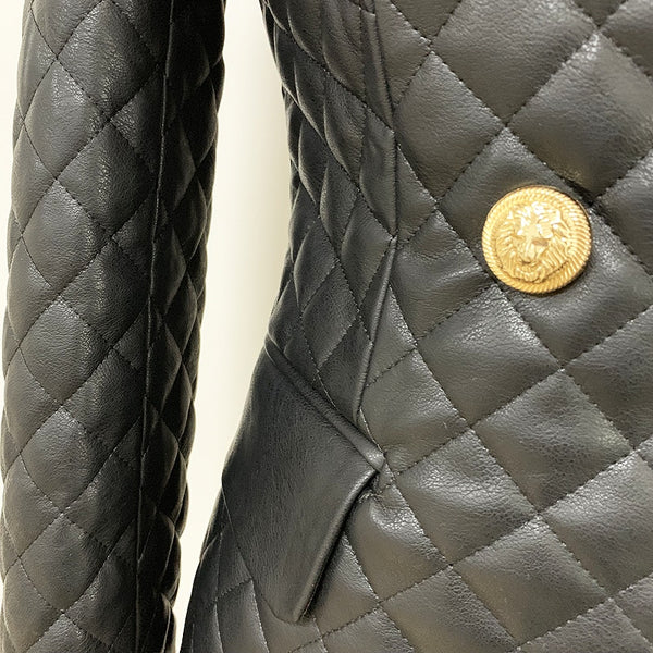 "The ""Cynthia"" Quilted Faux Leather Blazer"