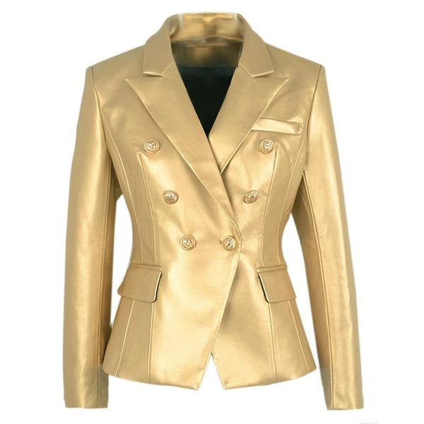 "The ""Margot"" Faux Leather Blazer - Gold"
