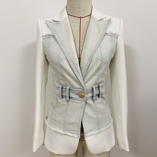 "The ""Vienna"" Slim Fit Denim Splice Blazer"