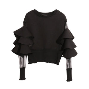 "The ""Bella"" Ruffled Long Sleeve Blouse - Jet Black"