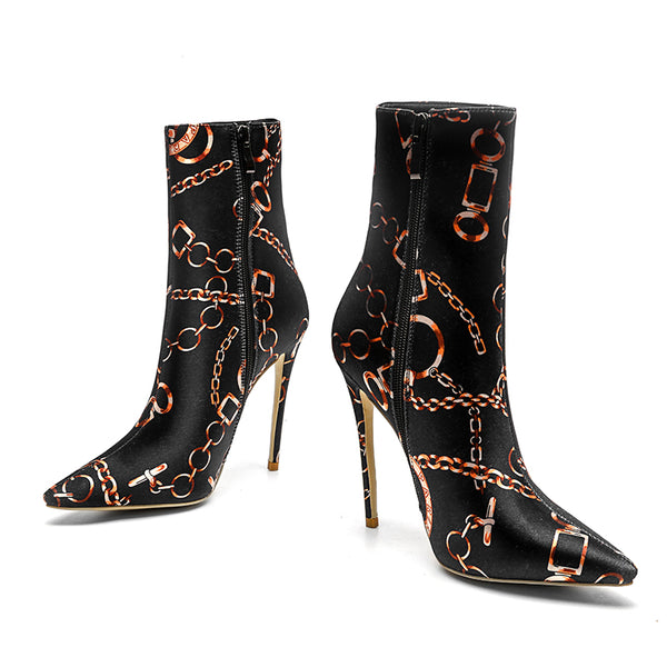 "The ""Parisian"" Satin High Heel Ankle Boots"