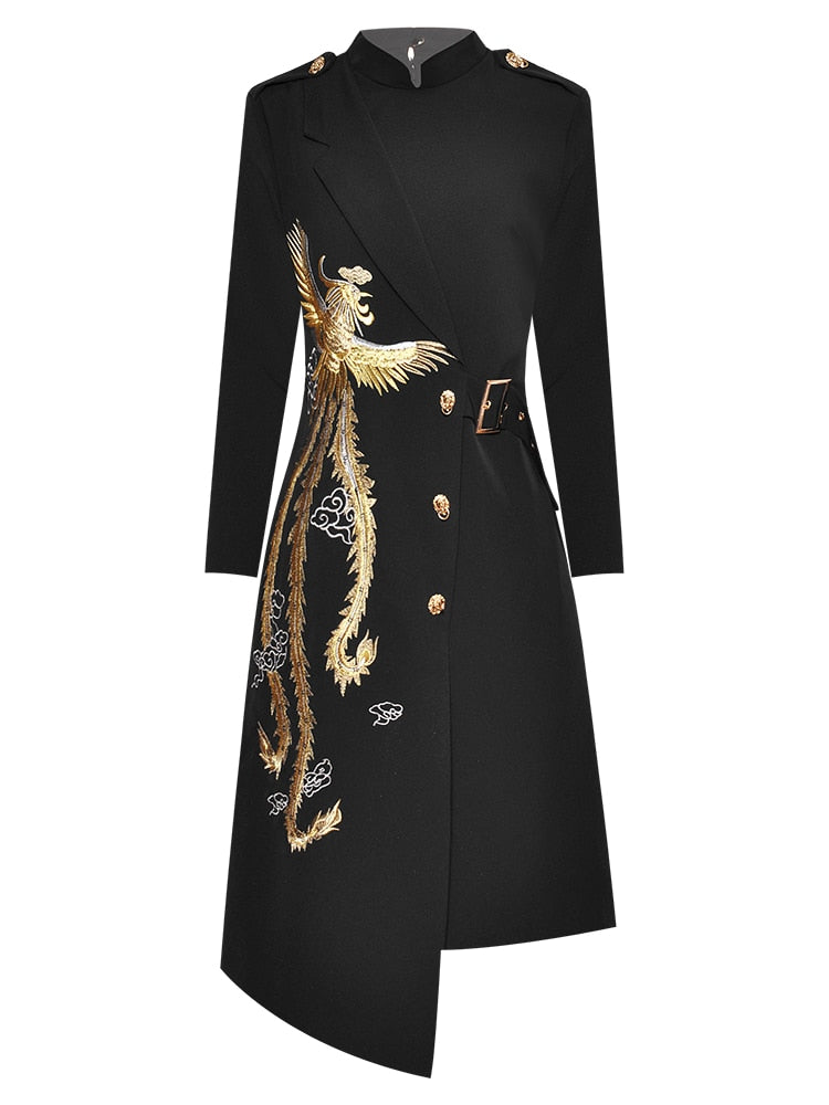 "The ""Phoenix"" Long Sleeve Spliced Dress"
