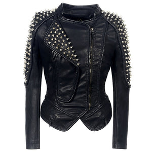 "The ""Dominique"" Studded Faux Leather Moto Jacket"