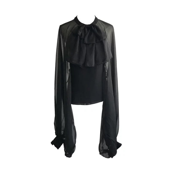 "The ""Angela"" Chiffon Long Sleeve Blouse - Multiple Colors"