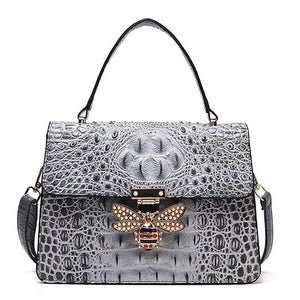 "The ""Crocodile Bee"" Faux Leather Handbag Purse - Multiple Colors"