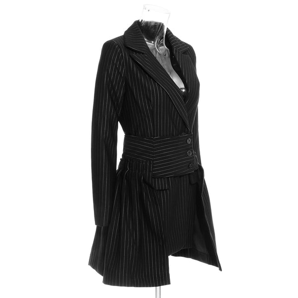 "The ""Georgine"" Pinstripe Long Tail Blazer"
