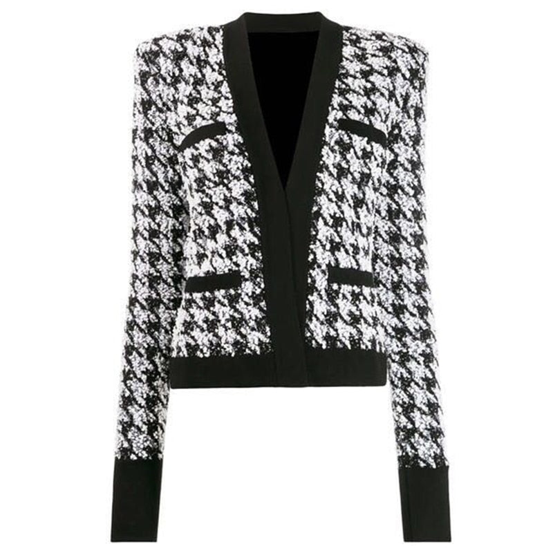 "The ""Houndstooth"" Tweed Cardigan Jacket"