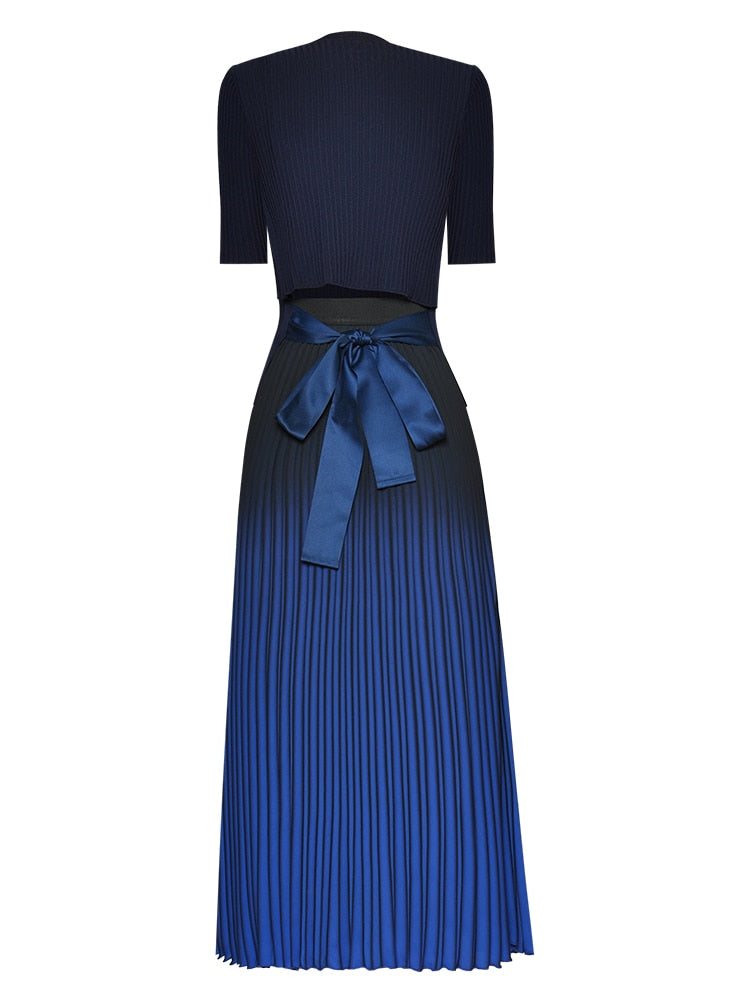 "The ""Sapphire"" Short Sleeve Two-Piece Pleated Dress"