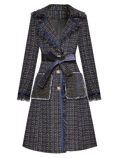 "The ""Blaine"" Long Sleeve Plaid Trench Coat"