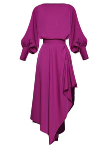 "The ""Fuchsia"" Asymmetrical Two-Piece Long Sleeve Dress"