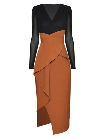 "The ""Amber"" Long Sleeve Asymmetrical Dress"