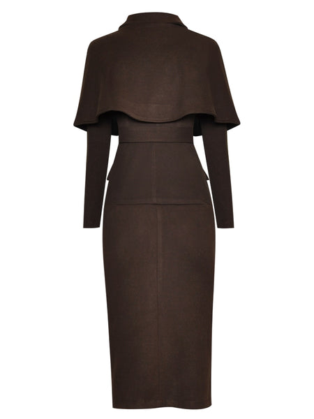 "The ""Elizabeth"" Long Sleeve Cloaked Dress"