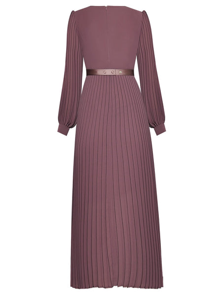 "The ""Paige"" Long Sleeve Pleated Maxi Dress - Multiple Colors"