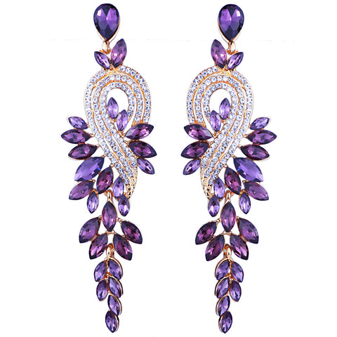 "The ""Flora"" Drop Crystal Earrings - Multiple Colors"